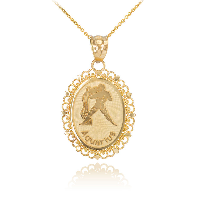 Polished Gold Aquarius Zodiac Sign Oval Pendant Necklace