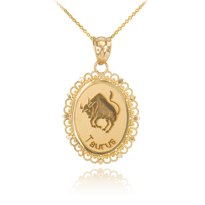 Polished Gold Taurus Zodiac Sign Oval Pendant Necklace