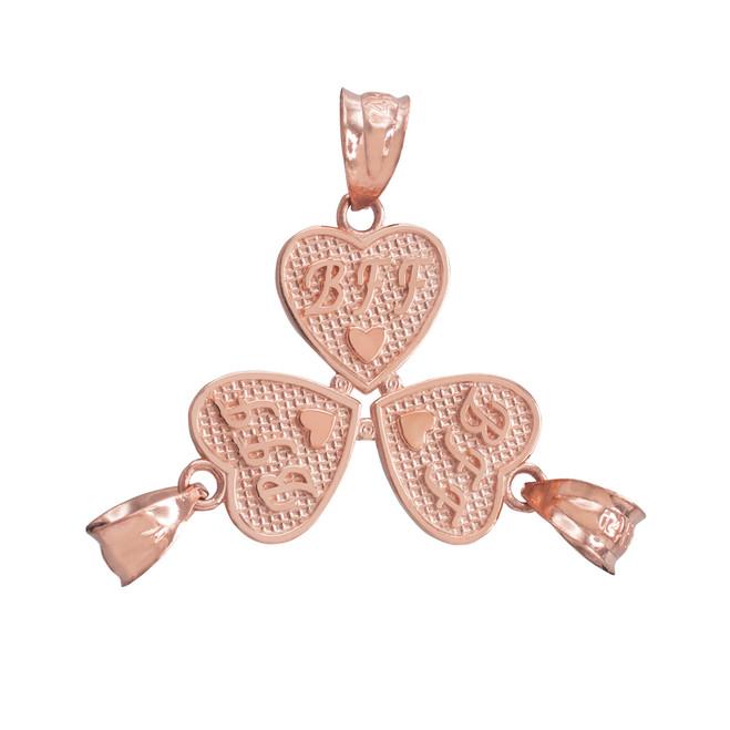 3pc Rose Gold 'BFF' Heart Charm Set