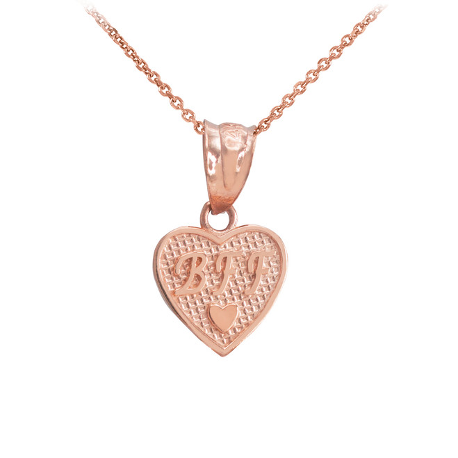 Rose Gold 'BFF' Heart Charm Necklace