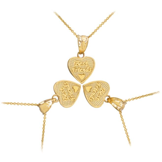 3pc Gold 'Best Friends' Heart Charm Necklace Set