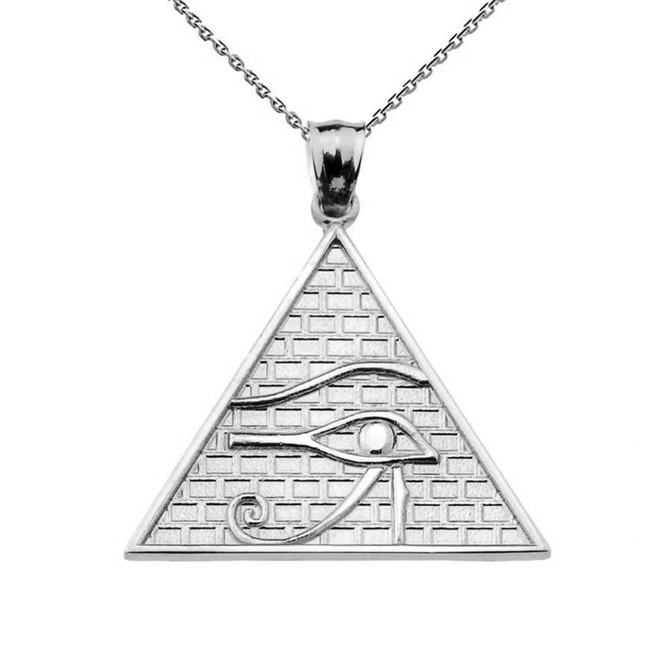 Solid White Gold Horus Pendant Necklace (13 steps)