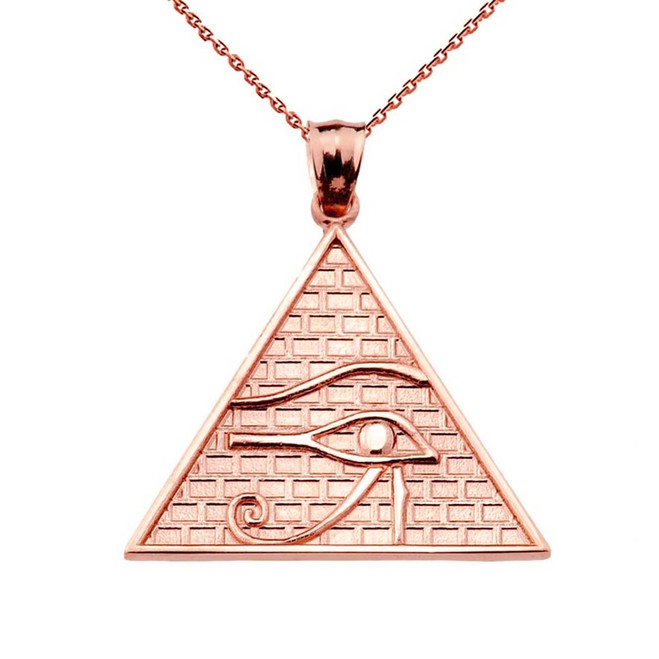 Solid Rose Gold Horus Pendant Necklace (13 steps)