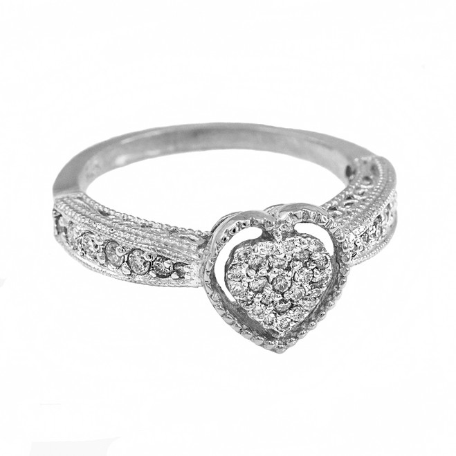 White Gold Diamond-Studded Heart Ring