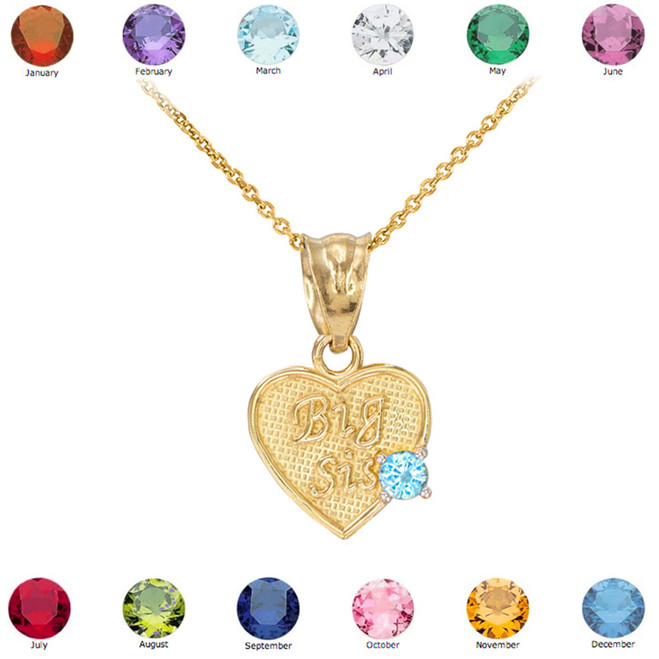 Gold 'Big Sis' CZ Birthstone Heart Charm Necklace