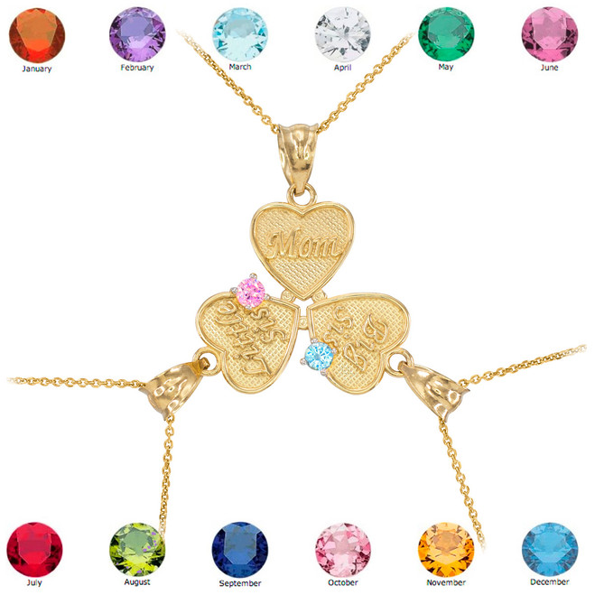 3pc Gold 'Mom' 'Big Sis' 'Little Sis' Dual Birthstone CZ Heart Necklace Set