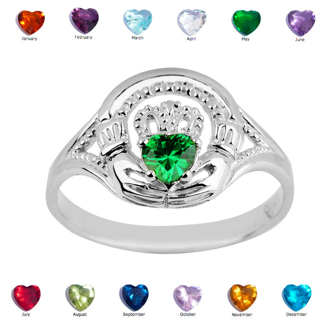 925 Sterling Silver Ladies Claddagh Birthstone Ring