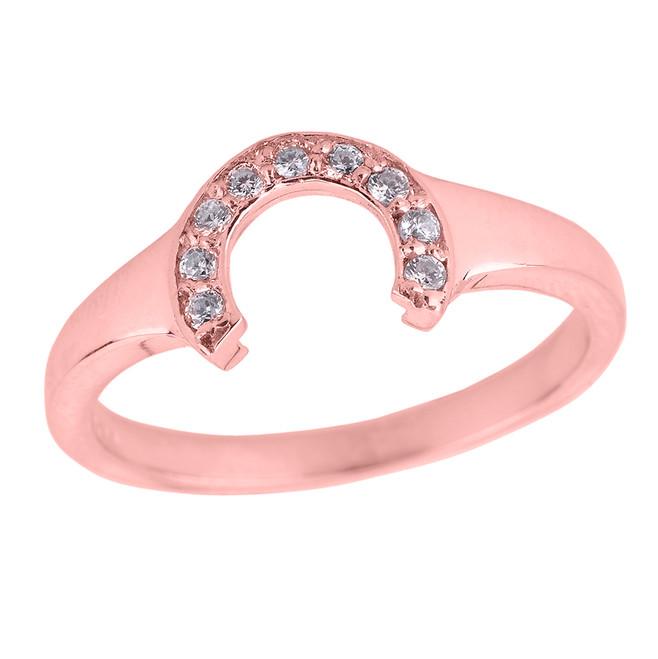 Ladies Rose Gold Diamonds Studded Lucky Horseshoe Ring