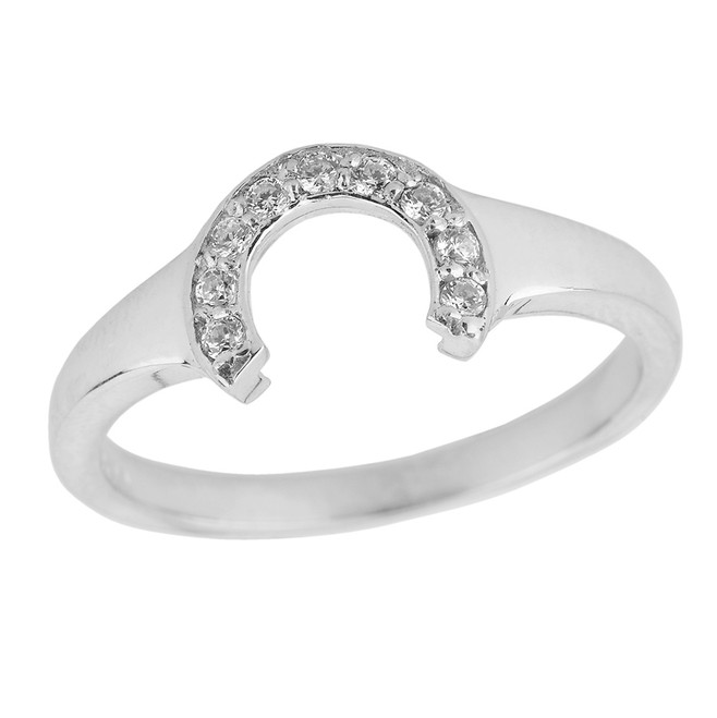 Ladies Sterling Silver Cubic Zirconia Lucky Horseshoe Ring