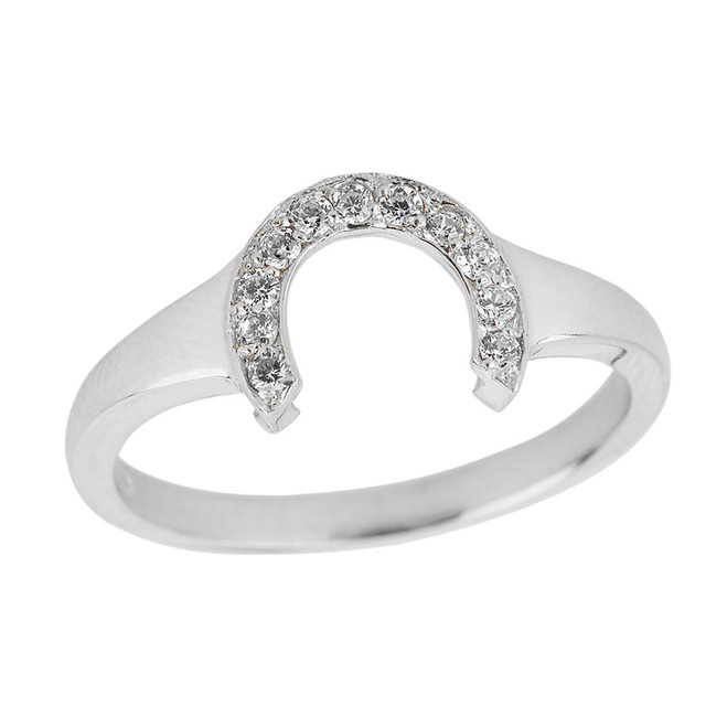 White Gold Ladies Diamond Lucky Horseshoe Ring