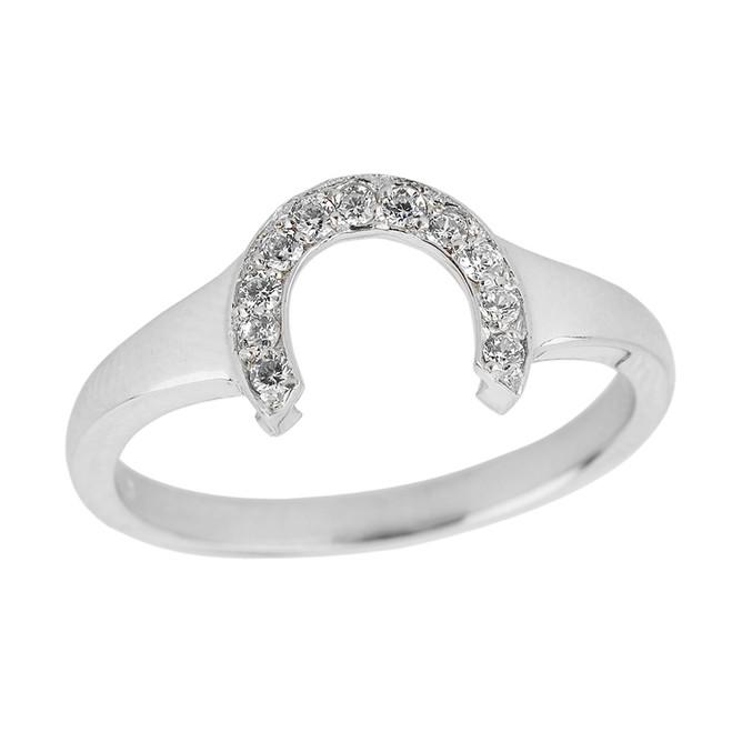 Sterling Silver Cubic Zirconia Ladies Horseshoe Ring
