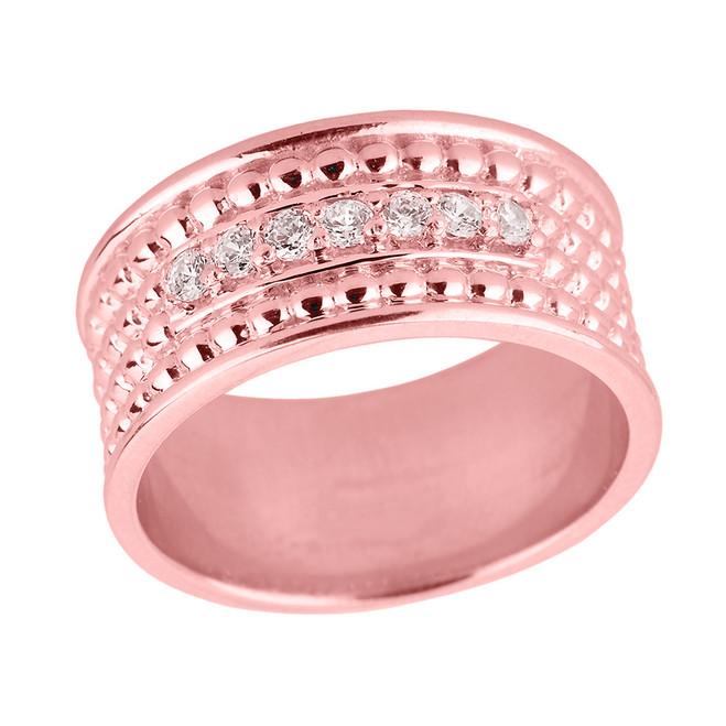 Rose Gold Ball Chain Bead Diamond Anniversary Wedding Band