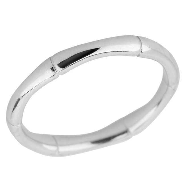 Solid White Gold 3 MM Bamboo Band