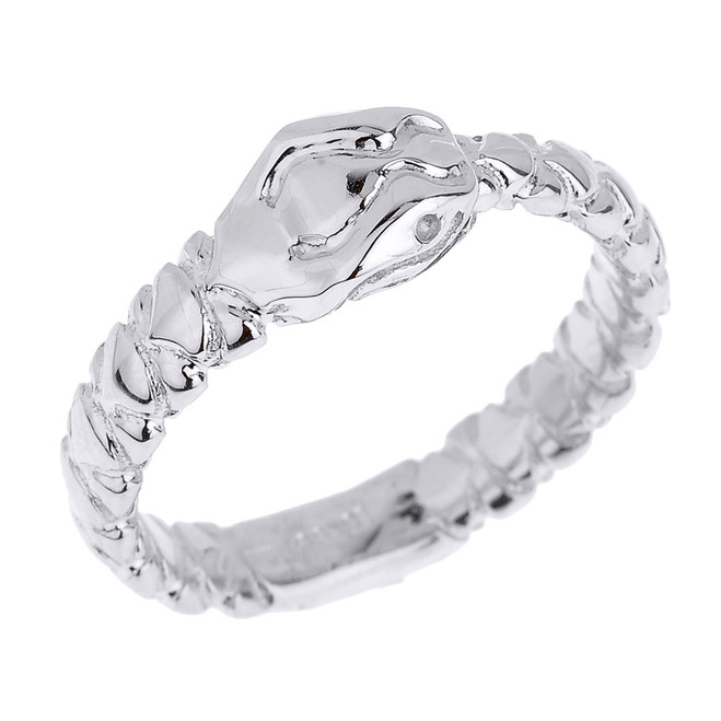 Sterling Silver Unisex Ouroboros Snake Thumb Ring (7 mm Head)
