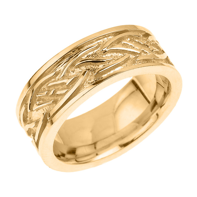 Solid Yellow Gold Celtic Knot Unisex Wedding Band