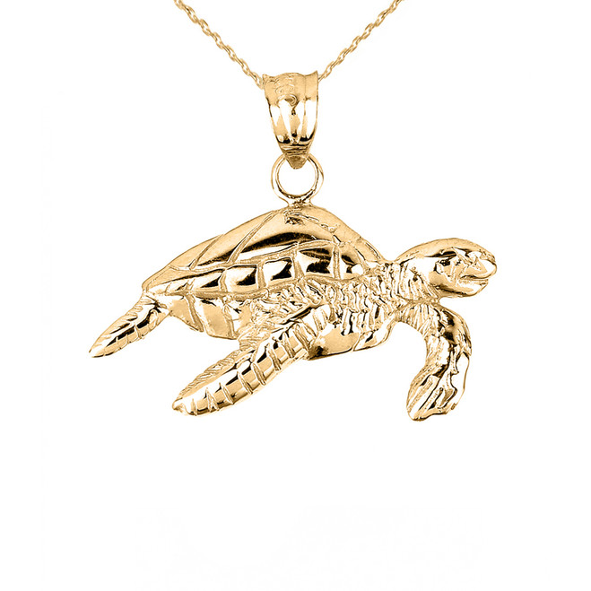 Solid Yellow Gold Sea Turtle Charm Pendant Necklace