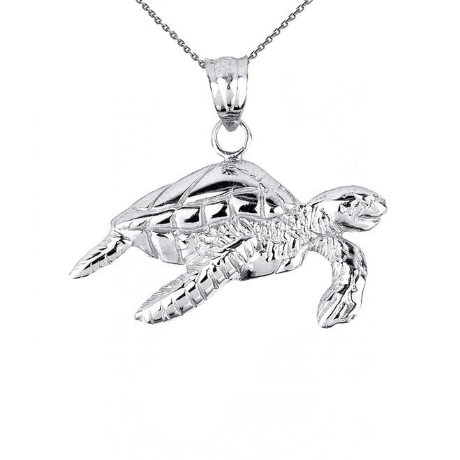 Solid White Gold Sea Turtle Charm Pendant Necklace