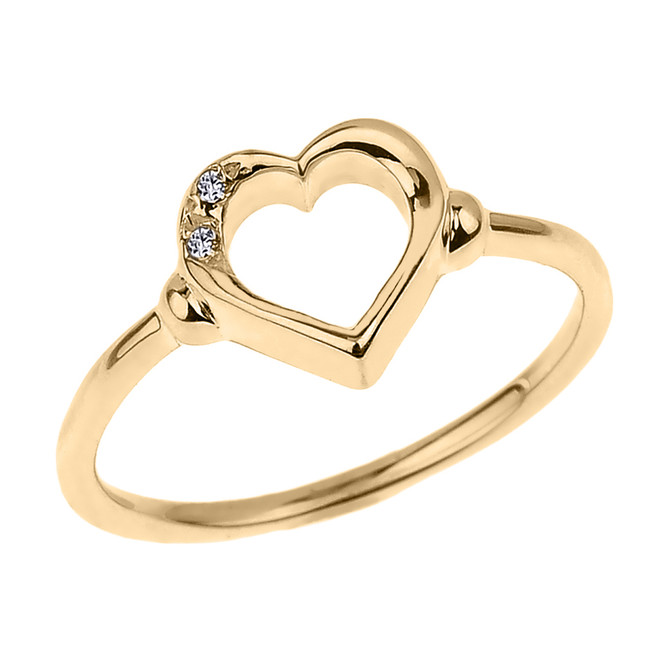 Dainty Yellow Gold Open Heart Diamond Ring