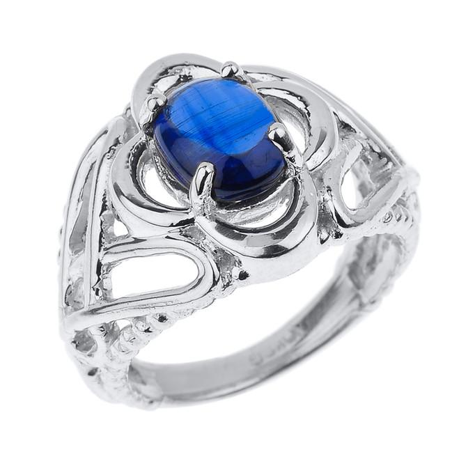 Sterling Silver Celtic Trinity Knot Kyanite Gemstone Ring