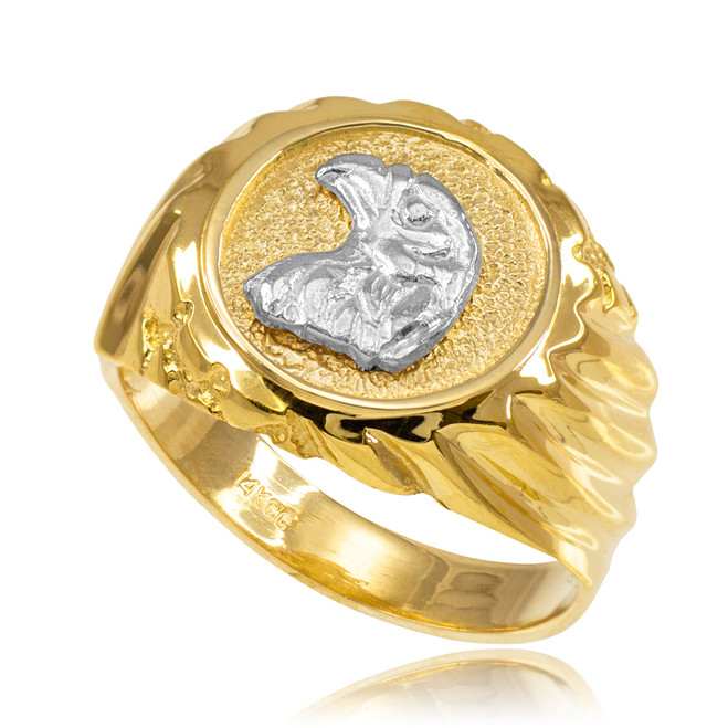 Gold Eagle Head Men's Ring