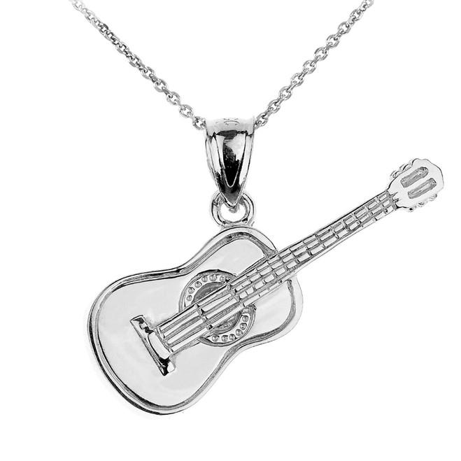 White Gold Acoustic Guitar Pendant Necklace