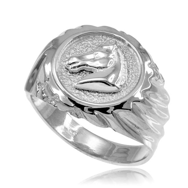 White Gold Horse Head Men's Ring