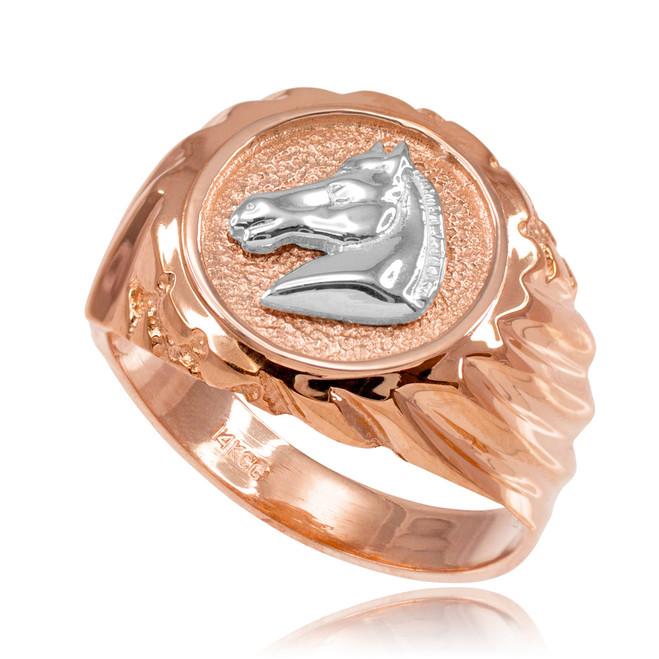 Rose Gold Horse Head Men's Ring