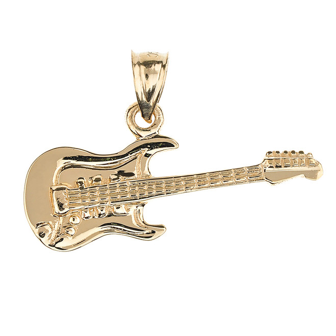 Solid Gold Electric Guitar Pendant Necklace