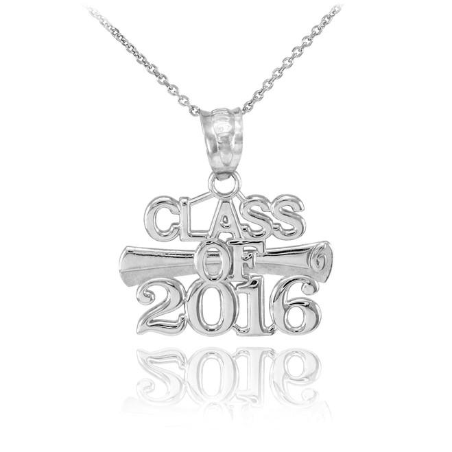 White Gold 'CLASS OF 2016' Graduation Charm Pendant Necklace