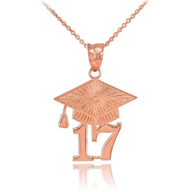 Rose Gold 2017 Class Graduation Pendant Necklace