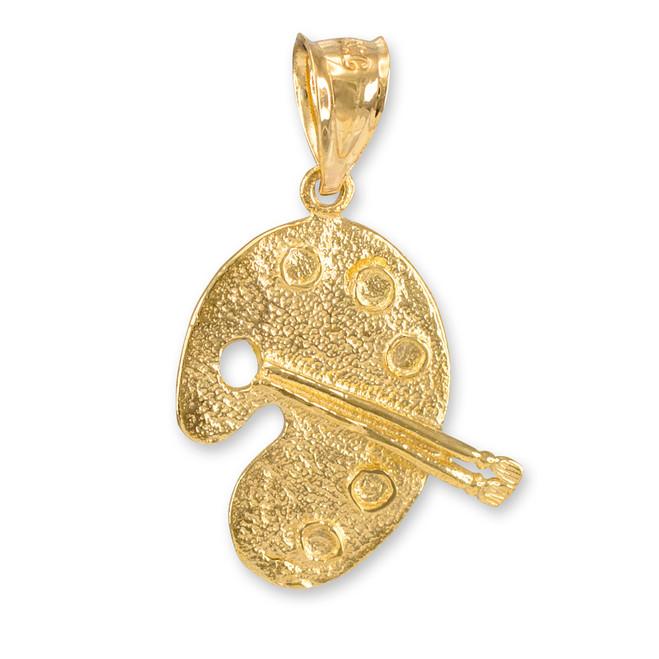Solid Gold Artist Palette Pendant