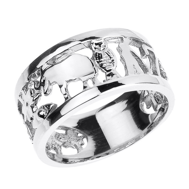 Solid White Gold Unisex Lucky Ring