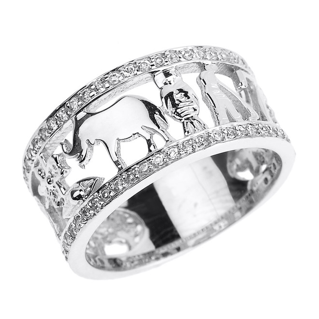Solid White Gold CZ Studded Unisex Lucky Ring