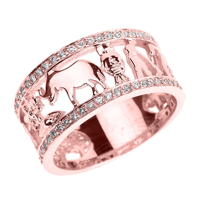 Solid Rose Gold CZ Studded Unisex Lucky Ring