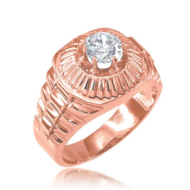 Rose Gold Watchband Design Men's CZ Ring