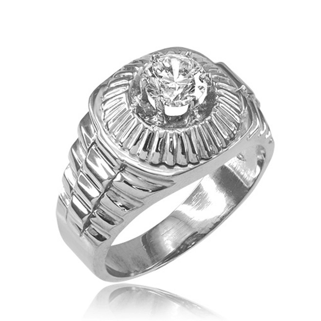 Sterling Silver Watchband Design Men's CZ Ring