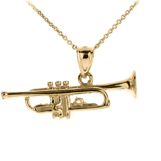 Gold Three Dimensional Trumpet Pendant Necklace
