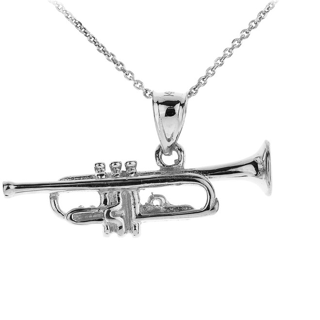 White Gold Three Dimensional Trumpet Pendant Necklace