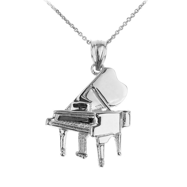 Sterling Silver Grand Piano Pendant Necklace