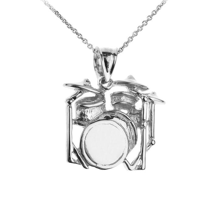 Sterling Silver Drum Set Pendant Necklace