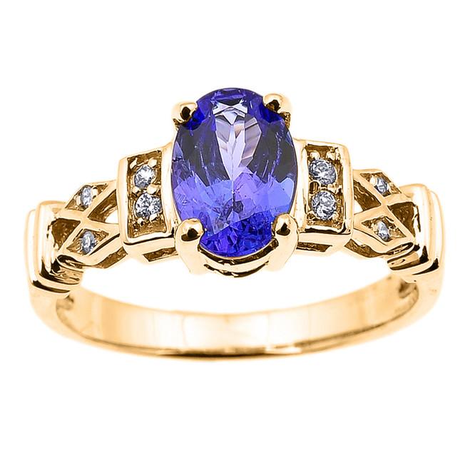 Yellow Gold Tanzanite and Diamond Engagement Proposal Ring