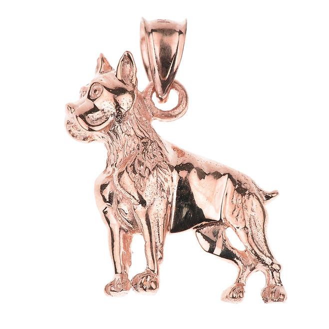 Rose Gold Boxer Dog Pendant Necklace