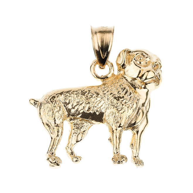 Gold American Bulldog Pendant Necklace