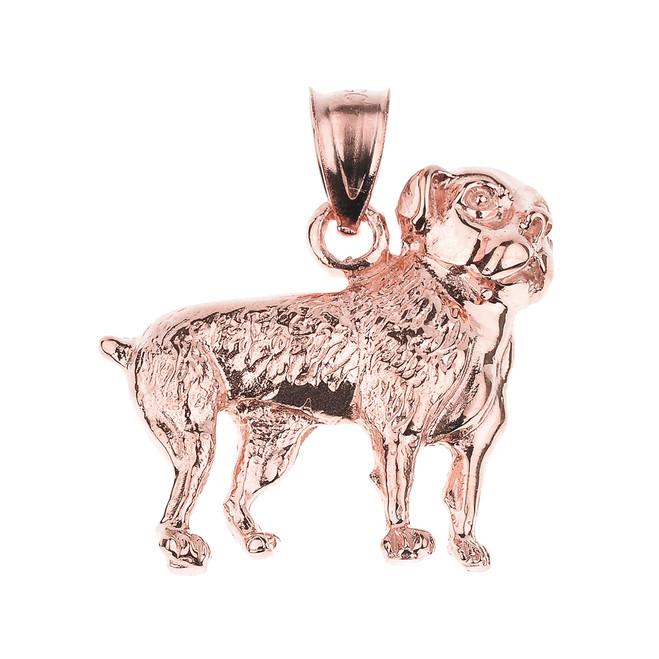 Rose Gold American Bulldog Pendant Necklace