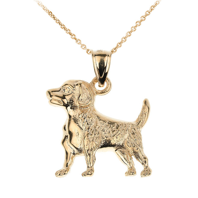 Yellow Gold Beagle Dog Pendant Necklace