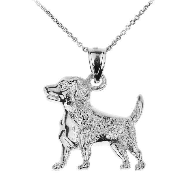 Sterling Silver Beagle Dog Pendant Necklace