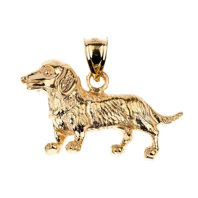 Yellow Gold Dachshund Dog Pendant Necklace
