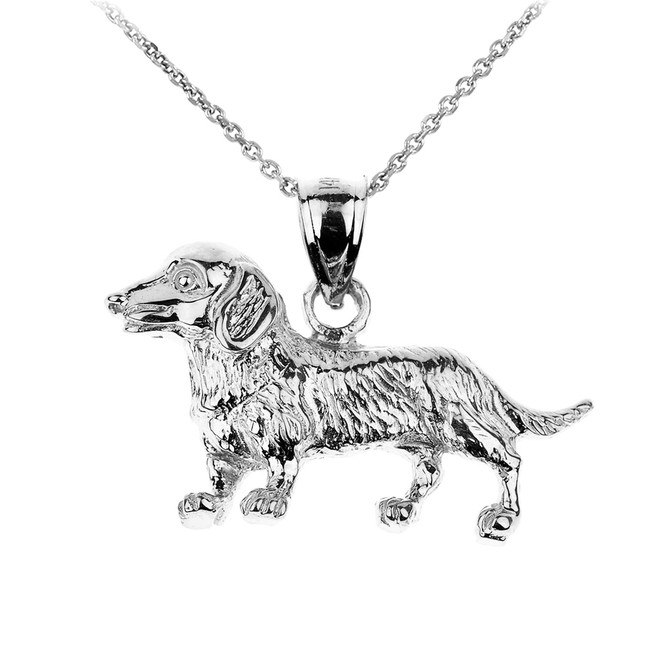 White Gold Dachshund Dog Pendant Necklace