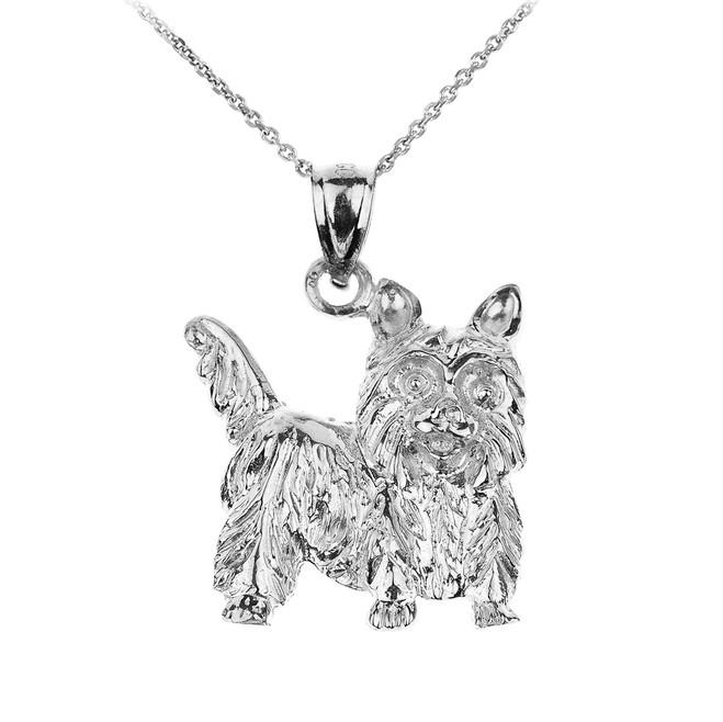 White Gold Yorkie Dog Charm Pendant Necklace