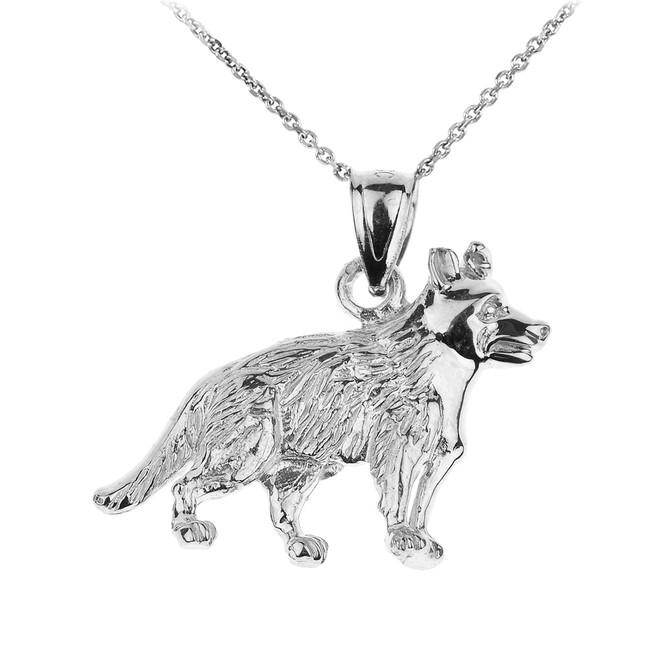 White Gold German Shepherd K9 Dog Pendant Necklace